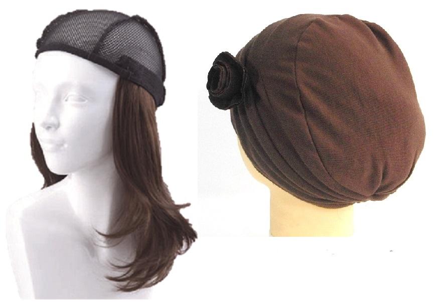 おしゃれウィッグキャップ【天使の帽子】ロングヘアー(医療用・簡単取外 し付け髪帽子)帽子250シリーズ