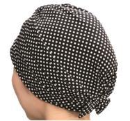 おしゃれヘアキャップ【女神の帽子】19 001水玉柄(さらさらしっとり薄手)