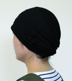 おしゃれヘアキャップ【天使の帽子】23002ふわっとワッフル加工(ソフトな肌触りコットン)(コサージュ付き)