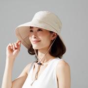 飛ばされにくいサファリ風帽子 ベージュ 帽子 レディース サファリハット 春 夏 UVカット ハット つば広 紫外線 対策 折りたたみ