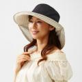 りぼんde調節UVカットつば広帽子 ドット柄UVカット 99%以上 つば広 帽子 紫外線対策 折りたためる