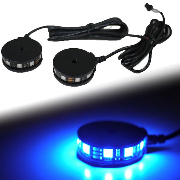 【メール便対応】 LEDラウンドイルミネーションライト 360° 2個セット ブルー