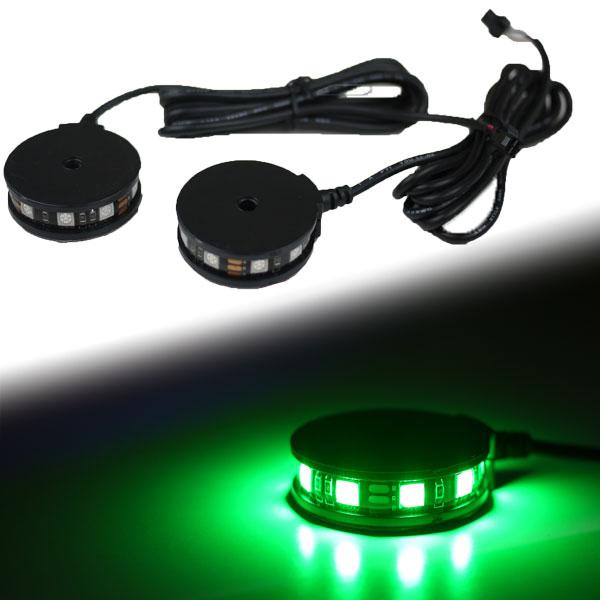 【メール便対応】 LEDラウンドイルミネーションライト 360° 2個セット グリーン