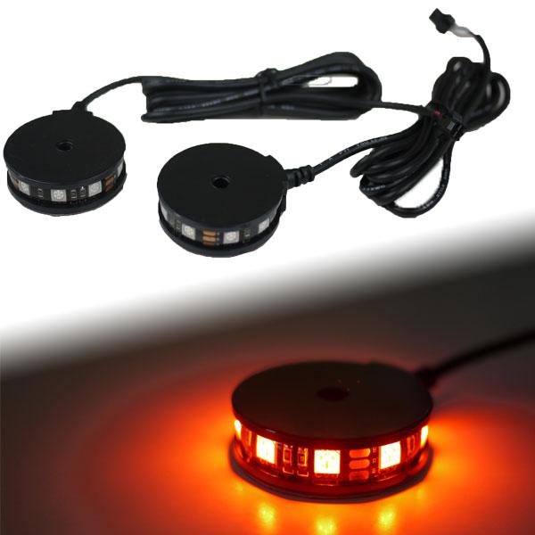 【メール便対応】 LEDラウンドイルミネーションライト 360° 2個セット オレンジ