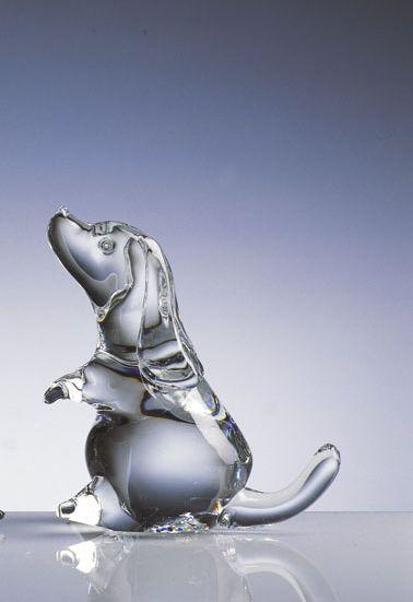 クリスタルガラスの輝きが美しいガラス オーナメント ブラッドハウンド イタリアVilca