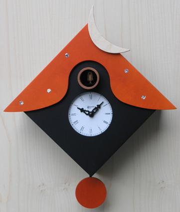 カッコーが鳴いて時刻を知らせます!鳩時計 カッコークロック イタリア・ピロンディーニOtranto104arancio