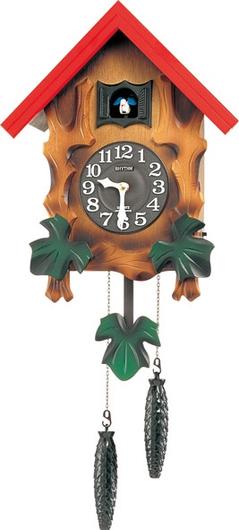 鳩時計カッコークロック  カッコーメルビルR 4MJ775RH06 リズム鳩時計 カッコーが鳴いて時刻を知らせます!