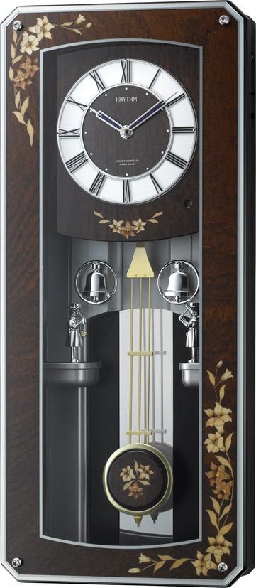からくり時計  プライムメネット 4MN518RH06 象嵌報時振り子時計 電波時計 リズム時計