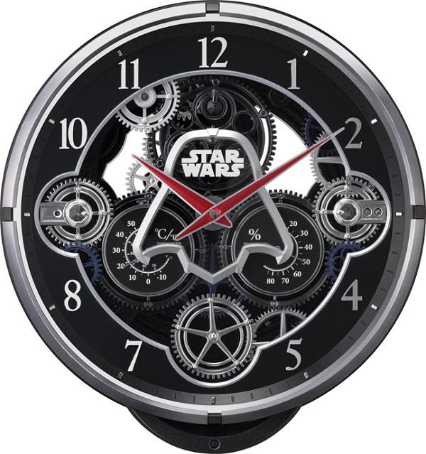 文字盤が360度回転します!からくり時計スターウォーズ ダースベーダー 4MN533MC02 リズム時計