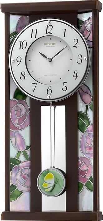 繊細な美のステンドグラス!ローズ RHG-M007 4MX406HG06 振り子時計 リズム時計 無料名入れ