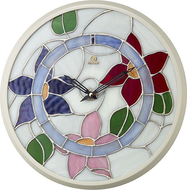 繊細な美のステンドグラス!掛け時計 ステンドグラス クレマチス柄 RHG-M117 4KG717HG03 リズム時計 無料名入れ