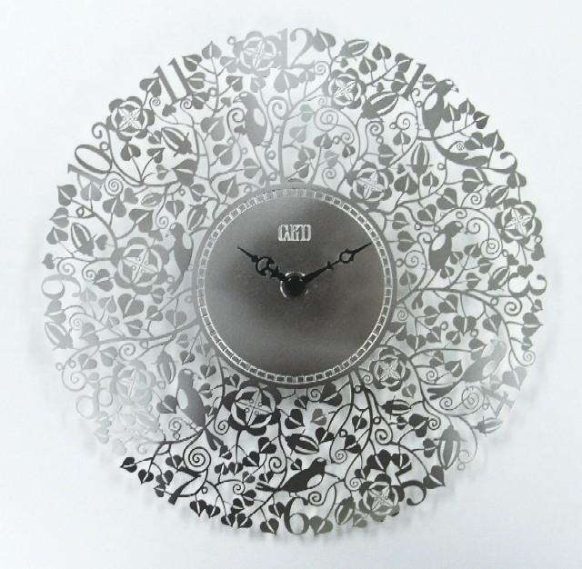 繊細な模様が美しい 掛け時計 7バードメタルクロック シルバー