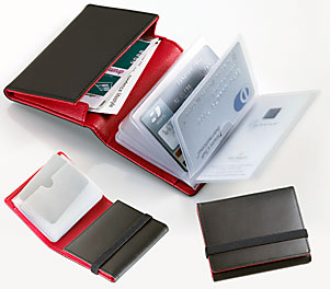 名刺やカード収納にとても便利!レザー製ビジネスカード&クレジットカードケースBK&RED