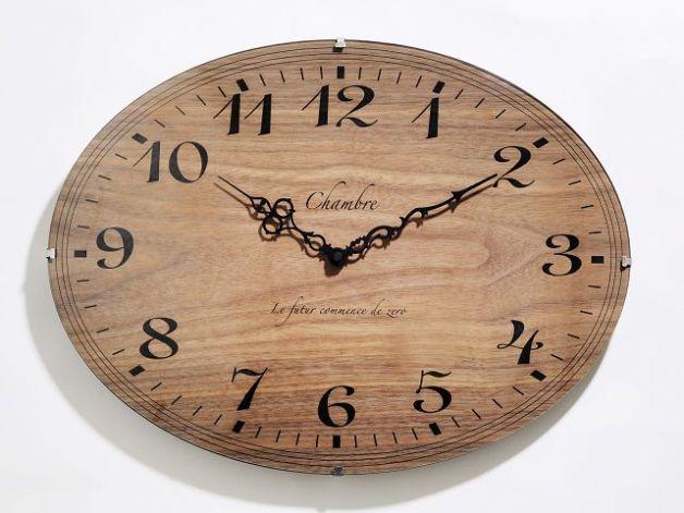 お部屋をお洒落に彩る オーバルドーム掛け時計 CHAMBRE ウォルナットCH001WN