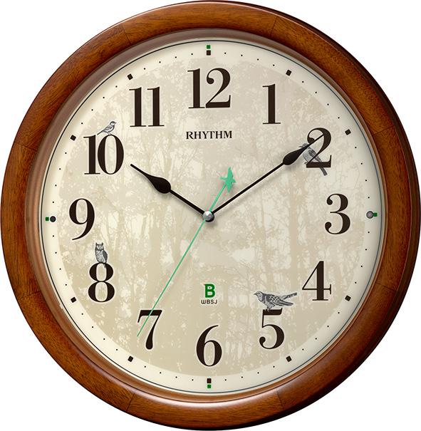 報時掛け時計408 日本野鳥の会 四季の野鳥 電波掛け時計 8MN408SR06