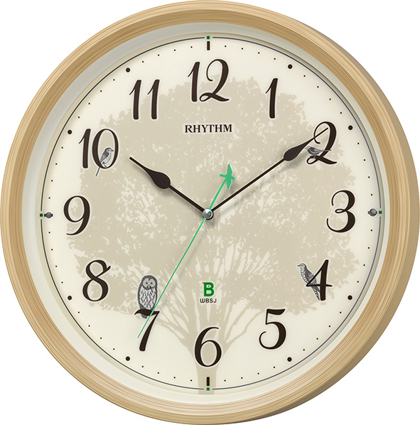 報時掛け時計409 日本野鳥の会 四季の野鳥 電波掛け時計 8MN409SR06