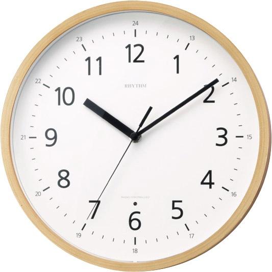 シンプルでクール 電波掛け時計8MY466RH07 プライウッド LBRリズム時計