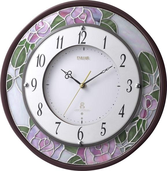 繊細な美のステンドグラス!エミュエールM8F 8MY481EN06 掛け時計 リズム時計 無料名入れ