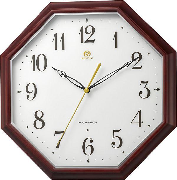 天然木の掛け時計 ハイグレード 8角形 RHG-M010 掛け時計 リズム時計 壁掛け時計 8MY530HG06 無料名入れ