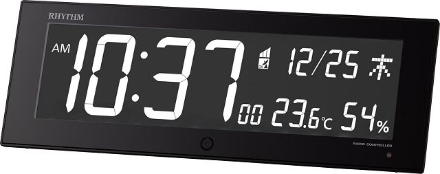 カラ―パフォーマンス電波置き掛け兼用時計 イロリア ジー IRORIA G 8RZ184SR02 ブラック リズム時計