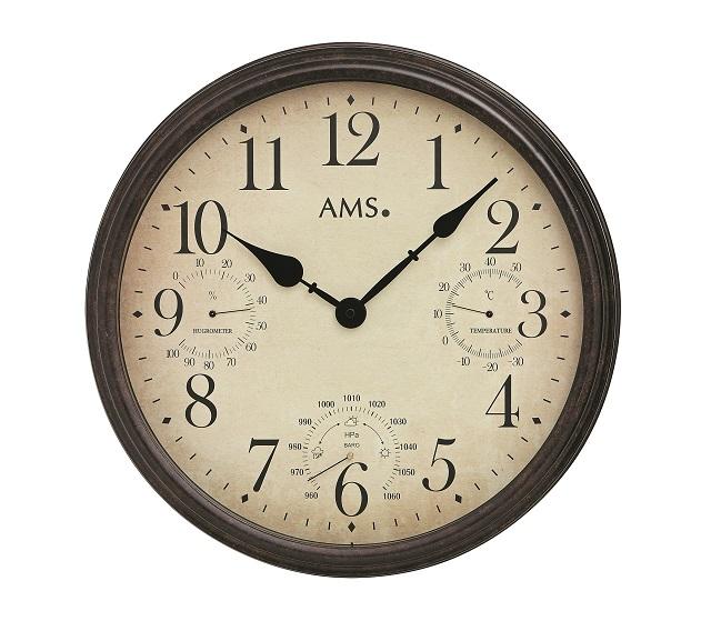 お洒落なデザインです! AMS アームス掛け時計 AMS9463  温度計 湿度計 気圧計