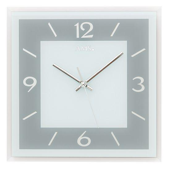 シンプルなデザインが魅力! AMS壁掛け時計 アームス掛け時計 スクエア  AMS9573