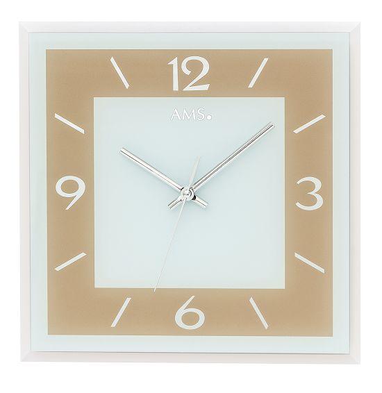 シンプルなデザインが魅力! AMS壁掛け時計 アームス掛け時計 スクエア  AMS9574