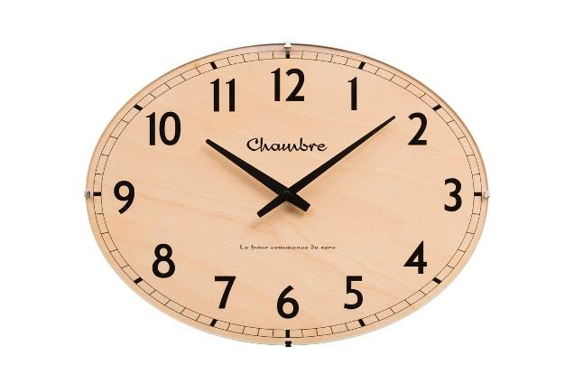 お部屋をお洒落に彩る オーバルドーム掛け時計 CHAMBRE ビーチウッド CH018BC  R-CLOCK GC-STYLE
