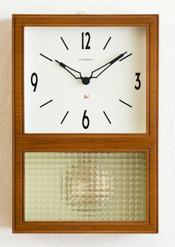 機械式掛け時計を感じさせるレトロなデザインです!GLASS振り子時計 CHAMBRE CH021CB DARK BROWN