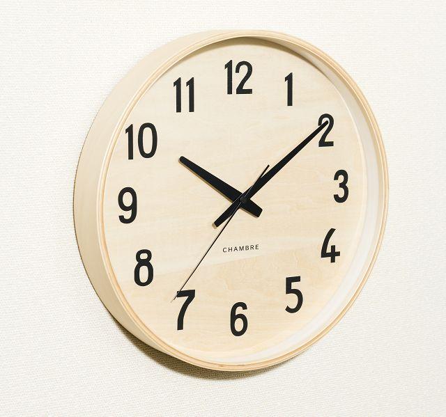 お部屋をシンプルに彩る PLYWOOD掛け時計  CHAMBRE  CH026BC  ナチュラル