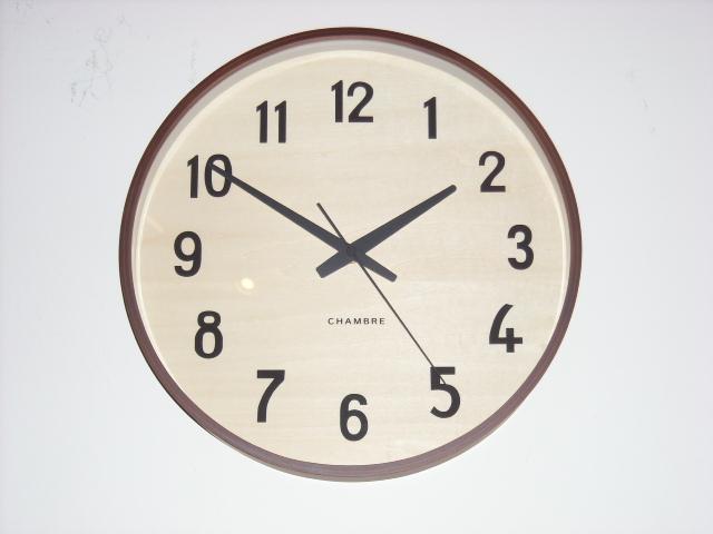 お部屋をシンプルに彩る PLYWOOD掛け時計  CHAMBRE  CH025CB  カフェブラウン