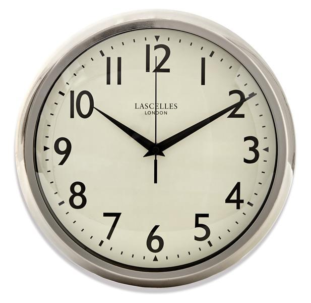 レトロ調でお洒落!ロジャーラッセルRogerLascelles社製 掛け時計 Retro Chrome Wall Clock With Sweep Seconds DECO-LASC-CHROME