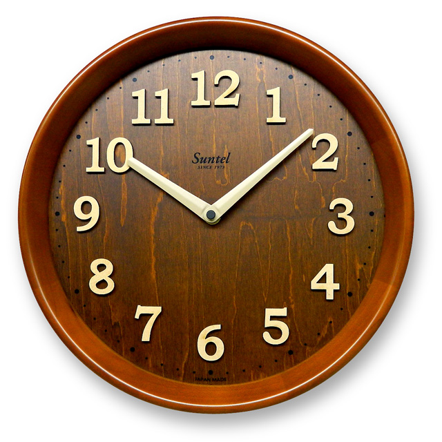 さんてる電波時間修正時計 天然木モダン置き掛け兼用時計 DQL673BR サンテル 日本製