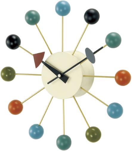 斬新なデザインで壁面を飾る 掛け時計 BALLクロック カラー GN397C   ジョージネルソン
