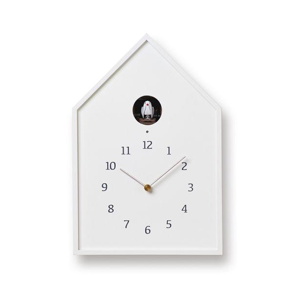鳩時計 カッコークロックです Lemnos レムノス カッコー掛け時計 Birdhouse Clock ホワイト NY16-12WH