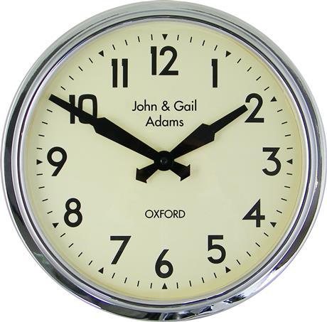 文字入れ品 ロジャーラッセルRogerLascelles社製 PERSONALISED Smiths Retro Clock 38cm 掛け時計 PD-SM-RETRO-CHROME