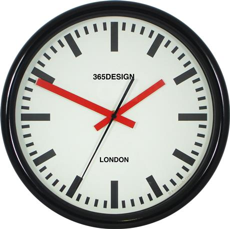 文字入れ品 ロジャーラッセルRogerLascelles社製 PERSONALISED SWISS STATION CLOCK 30cm 掛け時計 PD-TS-SYNC-BLK