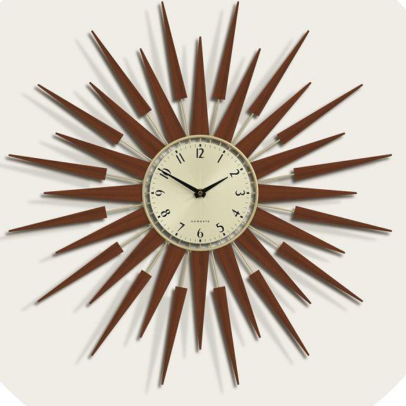 斬新なデザインで壁面を飾る 掛け時計 SUNBURSTブラウン NEW GATE(ニューゲート)
