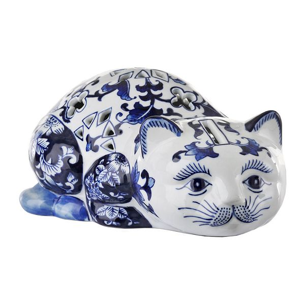 磁器貯金箱 マネーバンク 猫 Porcelain Money  Bank - Blue/White   Cat PPB-C
