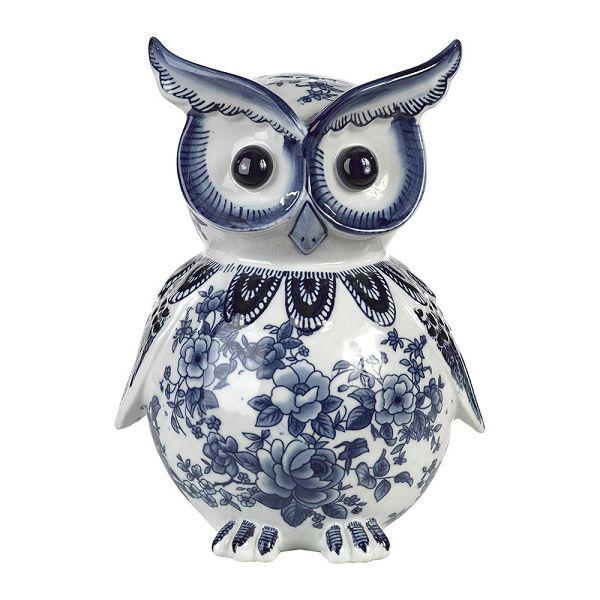 磁器貯金箱 マネーバンク フクロウ Porcelain Piggy Bank - Blue/White   Owl PPB-O