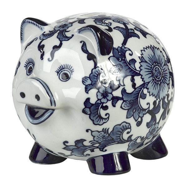 磁器貯金箱 マネーバンク 豚 Porcelain Piggy Bank - Blue/White  Piggy PPB-P