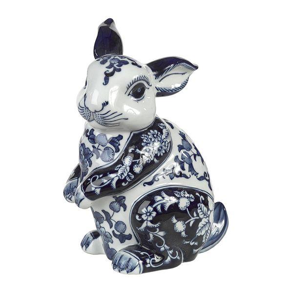 磁器貯金箱 マネーバンク ウサギ Porcelain  Money Bank - Blue/White  Rabbit PPB-R