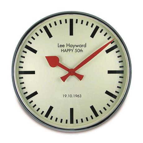 文字入れ品 ロジャーラッセルRogerLascelles社製 PERSONALISED CHROME RETRO WALL CLOCK 45cm 掛け時計 PR-LM-ELEC-CHROME