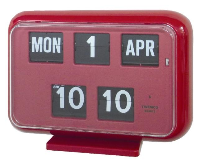 TWEMCOカレンダー時計  QD-35レッド 置き掛け兼用時計