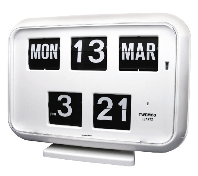 TWEMCOカレンダー時計  QD-35WHITE ホワイト 置き掛け兼用時計