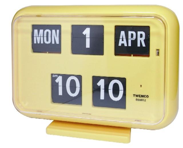 TWEMCOカレンダー時計  QD-35イエロー 置き掛け兼用時計
