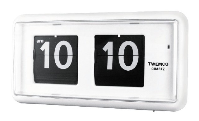 TWEMCOシンプルクロック  QT-30ホワイト 置き掛け兼用時計