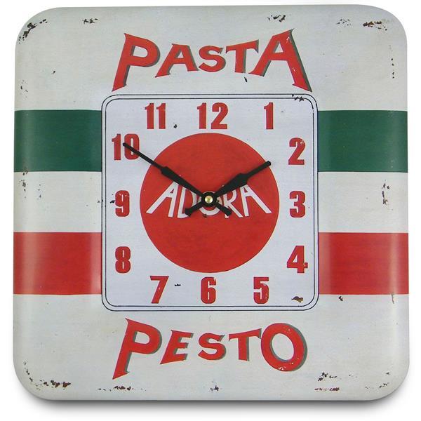 レトロ調でお洒落 ロジャーラッセル掛け時計 RogerLascelles 掛け時計 SQUARE TIN WALL CLOCK PASTA PESTO DESIGN 壁掛け時計 SQ-PESTO