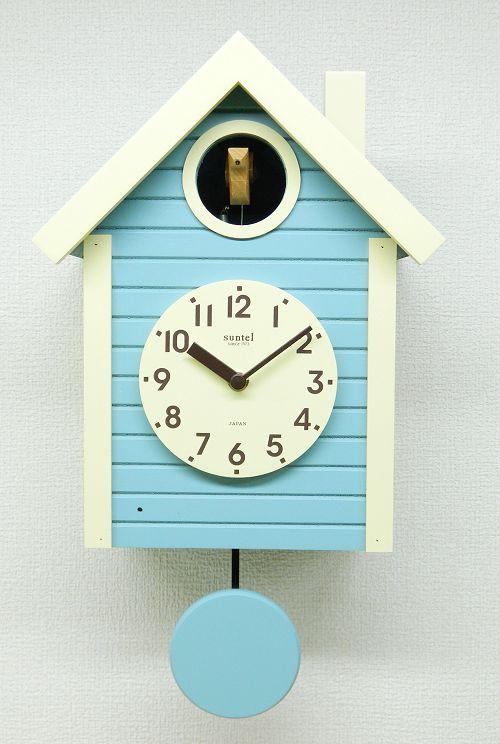 鳩時計 さんてる アクアブルー 日本製 振り子はと時計 SQ03AB 国産 手作り