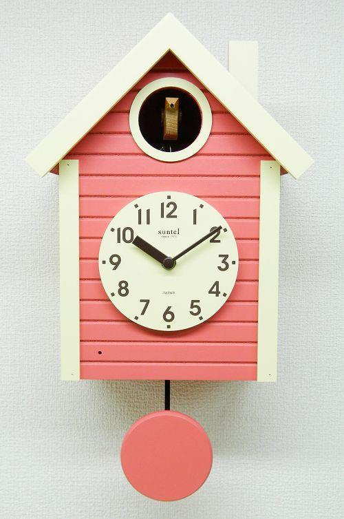 鳩時計 さんてる コーラルピンク 日本製 振り子はと時計 SQ03CP 国産 手作り